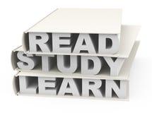 Lu, l'étude et apprennent Images libres de droits