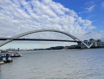 Lu Pu Bridge. The worlds second long steel arch bridge Lu Pu Bridge over Huang Pu river  in Shanghai China Royalty Free Stock Photo