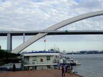 Lu Pu Bridge. The worlds second long steel arch bridge Lu Pu Bridge over Huang Pu river  in Shanghai China Stock Image