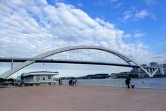 Lu Pu Bridge. The worlds second long steel arch bridge Lu Pu Bridge over Huang Pu river  in Shanghai China Stock Photography
