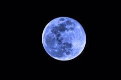 Lua azul cheia no fundo preto Fotografia de Stock Royalty Free