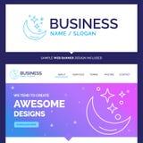 Lua bonita da marca do conceito do negócio, noite, estrela, tempo ilustração stock