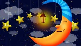 A lua bonito e as estrelas, deram laços no fundo video para música de ninar vídeos de arquivo