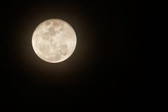 Lua cheia de incandescência de encontro ao céu nocturno preto Imagens de Stock