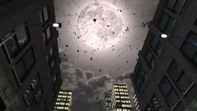 Lua cheia e rosas românticas de queda ilustração do vetor