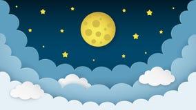 Lua cheia, estrelas, nuvens no fundo da meia-noite escuro do céu Fundo do cenário do céu noturno estilo de papel da arte ilustração do vetor