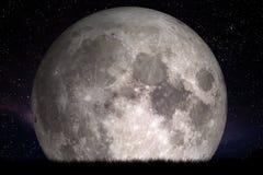 Lua cheia na noite Grama no primeiro plano Aperfeiçoe para o fundo, cópia-espaço imagens de stock