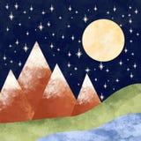 Lua cheia nas montanhas fotos de stock