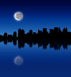 Lua cheia sobre a cidade ilustração do vetor