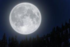 Lua cheia sobre a montanha Fotografia de Stock