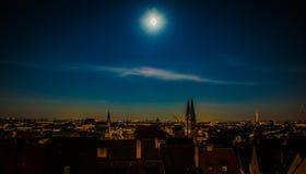 Lua cheia sobre Nuremberg Imagem de Stock