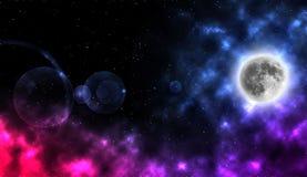 A lua com protagoniza na noite Fotografia de Stock Royalty Free