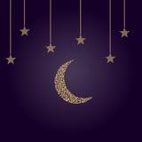 A lua crescente com protagoniza no limbo Fotografia de Stock