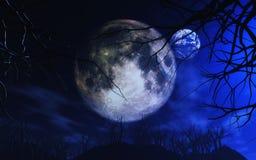 lua 3D e terra na paisagem assustador ilustração do vetor