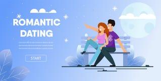 Lua da noite de Sit Bench Park Date Romantic dos pares ilustração do vetor