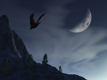 Lua da noite sobre a águia da montanha Imagem de Stock