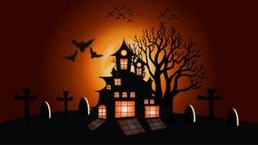 Lua de Dia das Bruxas e fundo da árvore, ilustração ilustração do vetor