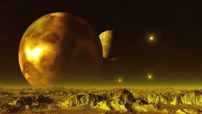 Lua de dois gigantes no planeta do estrangeiro do céu ilustração do vetor