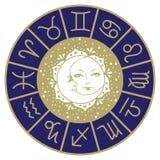 Lua de Sun e horóscopo da mandala das estrelas ilustração stock