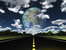 Lua de Terraformed vista da terra Foto de Stock
