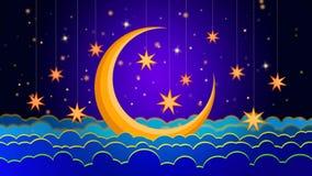 Lua do melhor céu noturno e estrelas amarelas, o melhor fundo do vídeo do laço para pôr um bebê para dormir, relaxamento de acalm vídeos de arquivo