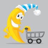 Lua dos desenhos animados com carrinho de compras Imagem de Stock