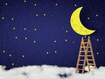 Lua e as estrelas Imagem de Stock Royalty Free
