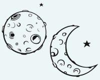 Lua e crateras lunares ilustração stock