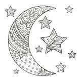 Lua e estrela de Zentangle com testes padrões abstratos Imagens de Stock