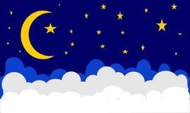 Lua e estrela do céu noturno imagem de stock royalty free