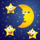 Lua e estrelas Foto de Stock Royalty Free