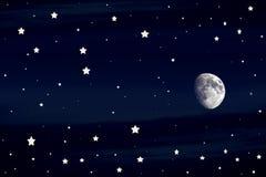 Lua e estrelas Fotografia de Stock Royalty Free