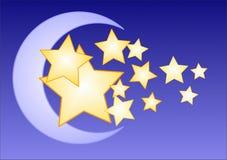 Lua e estrelas Ilustração Stock