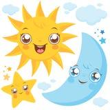 Lua e estrelas de Sun Imagens de Stock
