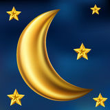 Lua e estrelas do ouro Foto de Stock Royalty Free