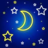Lua e estrelas do vetor Imagem de Stock Royalty Free