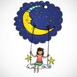 Lua e menina Ilustração Stock
