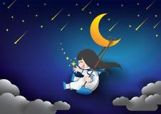 Lua e menina do céu noturno Fotografia de Stock