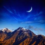 Lua e montanhas Fotos de Stock Royalty Free