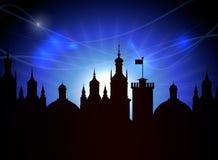Lua e noite da cidade Ilustração Royalty Free