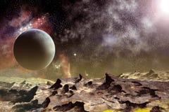 Lua e planeta de pedra Fotos de Stock Royalty Free