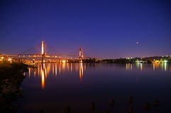 Lua e rio Fotografia de Stock