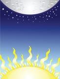 Lua e sol ilustração stock
