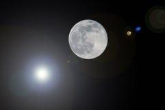 Lua e sol Foto de Stock Royalty Free
