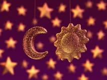Lua e sol, decoração do partido Fotografia de Stock Royalty Free