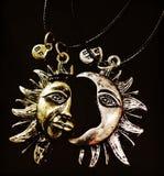 Lua e Sun Fotografia de Stock