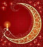 Lua e uma luz Foto de Stock Royalty Free