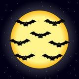 Lua em Dia das Bruxas com bastões ilustração royalty free