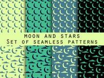 Lua, estrelas e nuvens Testes padrões sem emenda ajustados Imagens de Stock Royalty Free
