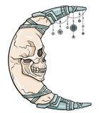 A lua fantástica sob a forma de um crânio humano ilustração stock